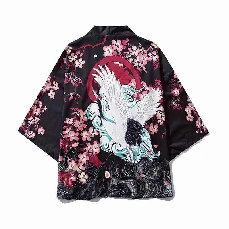 Kimono de estilo japonés nuevos de 17 colores para adultos, ropa tradicional Haori con estampado de dragón chino, batas finas de samurái para hombres y mujeres