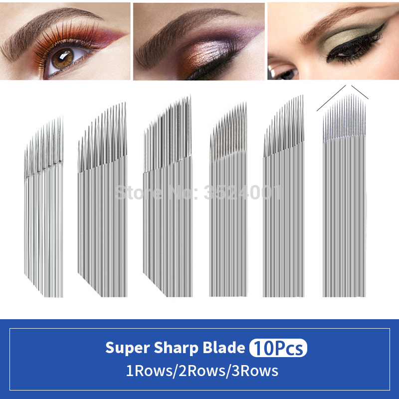 10pcs 3Rows 2Rows Tattoo Needle Accessories Permanent Makeup Sterilized Microblading Needle Blade For Eyebrow Lip