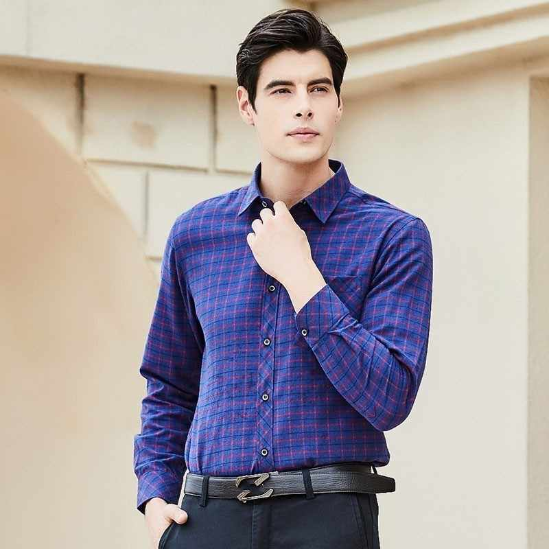 Nowe modne męskie koszule z długim rękawem Camisa społeczna Masculina w kratę drukowana Koeran Slim Fit praca w biurze pojedyncza jednorzędowa koszula Top