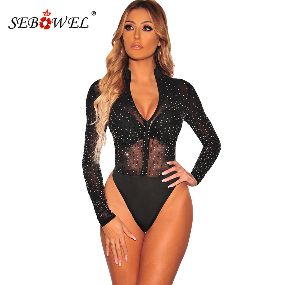 SEBOWEL Long Sleeve Black Sheer Mesh Silver Rhinestone Studded Woman Thong Bodysuit Female Mock Neck Zipper Body Top Clothes