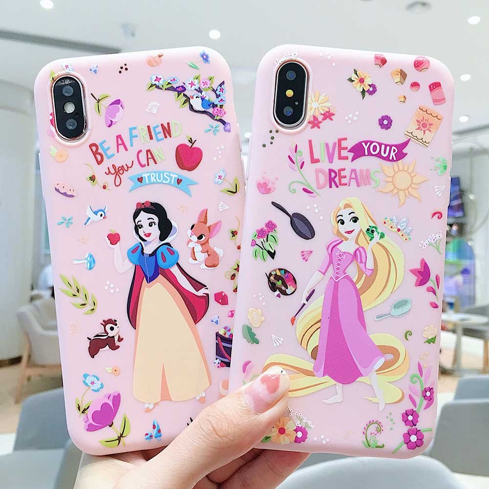 Pink jelly color phone cases for funda iphone 7 8 6 6s plus lucky princess matte for iphone 7 xs max xr accessories micky cover in Fitted Cases from Cellphones Telecommunications