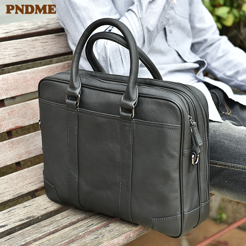 PNDME simple casual genuine leather men's briefcase business cowhide handbag handmade luxury large laptop shoulder messenger bag
