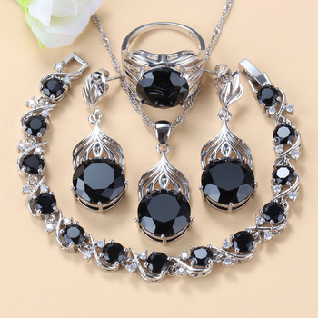 Morocco Jewelry Sets Of Earrings And Pendant Silver 925 Black Topaz Bracelet And Ring Sets For Women Fashion Accessorise 1