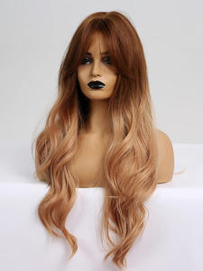 Wigs Bangs Blonde Synthetic-Hair LANA Middle-Part Heat-Resistant-Fiber Brown Wavy TINY