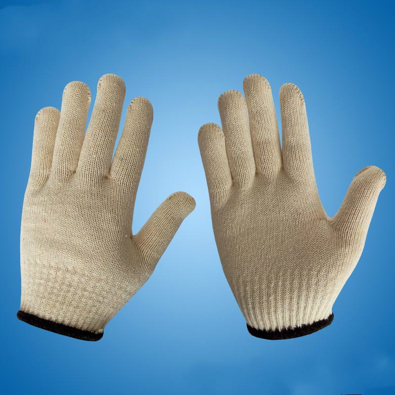 White Labor Protection Operation Cotton Gloves Extended Thick Protective Gloves