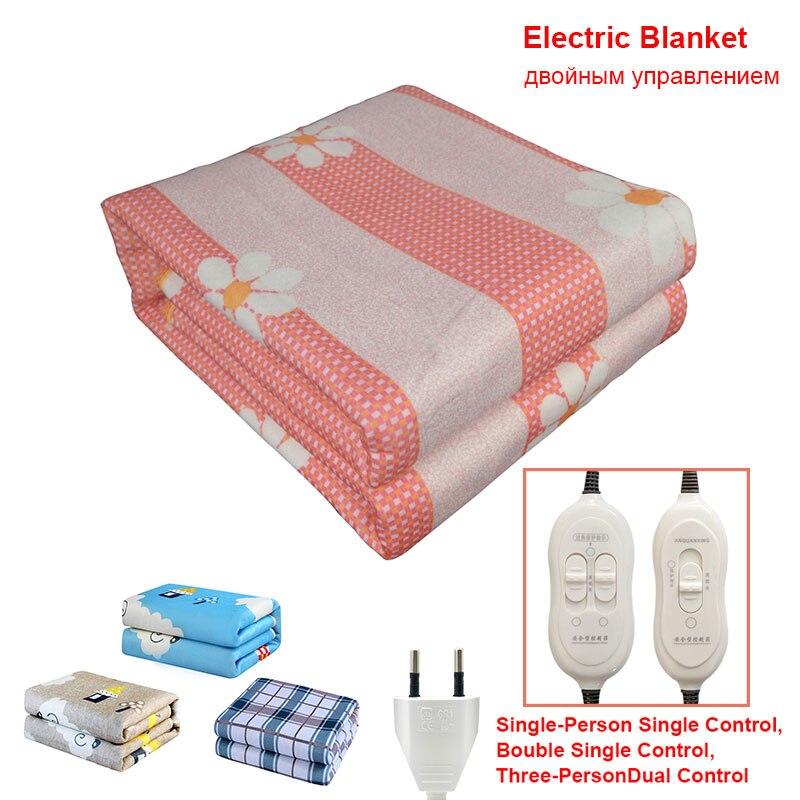 220V Enchufe europeo manta de calefacción eléctrica termostato Automático Doble cuerpo cama más caliente colchón alfombras calefactoras eléctricas tapete calentador