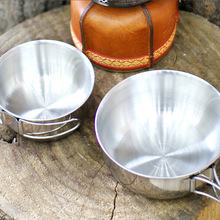 Outdoor stainless Steel folding bowl camping portable multifunctional picnic set cooker Mountaineering Cup tableware mug camp