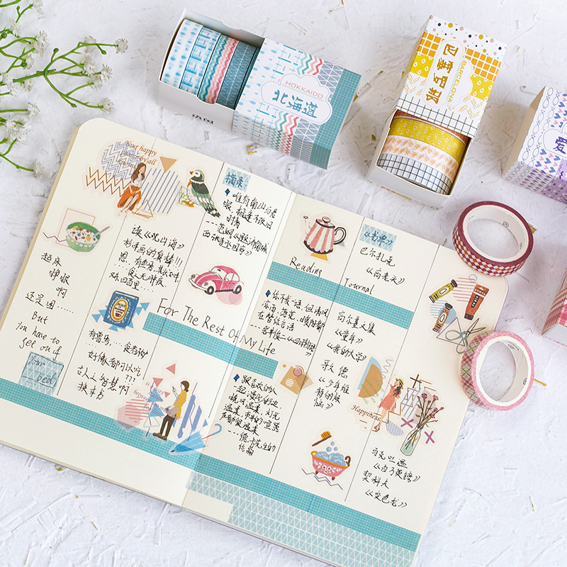 5 Pcs Washi Tape Set Masking Tape School Washitape Stickers Scrapbooking Whasi Vintage Cinta Adhesiva Decorativa Paper Cute Grid