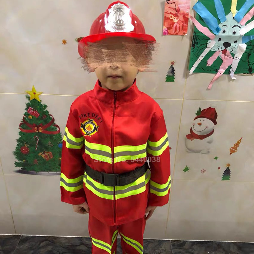 Kids Fireman Sam Costumes Role-play Novelty Carnival Clothing Set Firefighter Cosplay Army Suit Children Boy Girls Performance