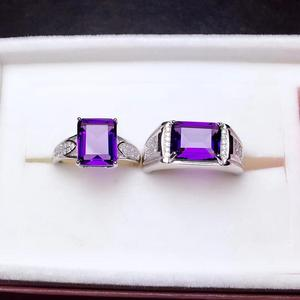 Image 2 - Natural amethyst couple ring. The real 925 Silver Mens ring. Simple and exquisite. Shopkeeper recommends