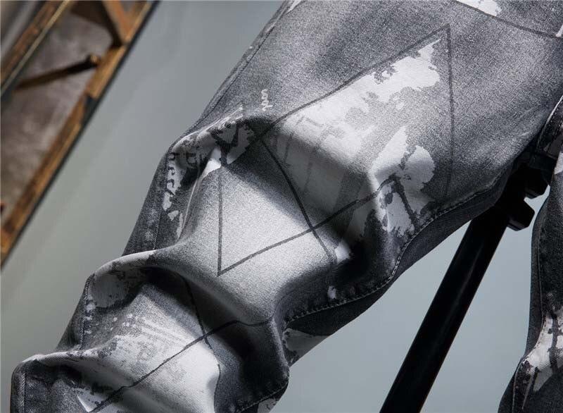 KIOVNO Men Fashion Printed Jeans Pants Washed Grey Denim Trousers Male Streetwear (6)