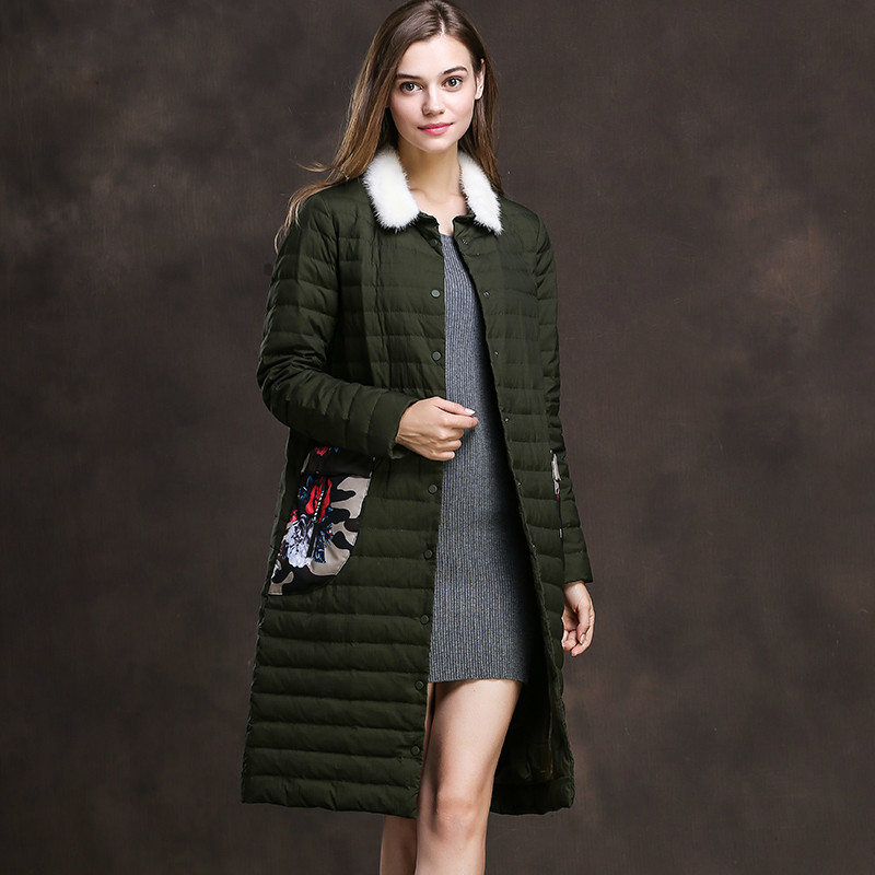 Women's Down Jacket Autumn Winter Coat Female Jacket Women Clothes 2020 Korean Vintage Parka Mink Fur Collar Tops Casaco ZT3856