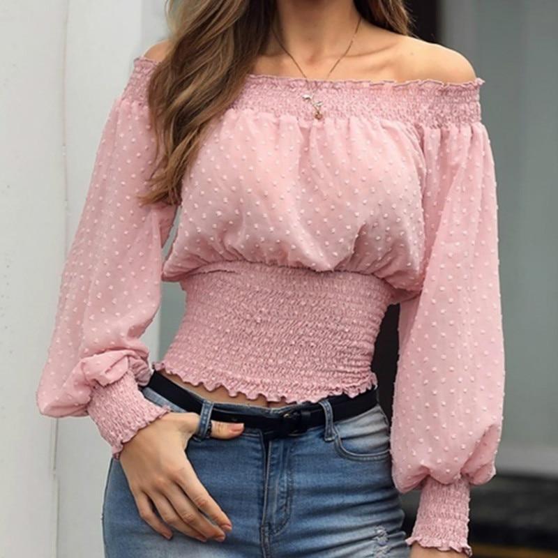 Women Off Shoulder Short Tops   Blouse   Ladies Casual Long Sleeve Slim High Waist Streetwear   Shirt