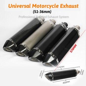 Silenciador de tubo de escape de motocicleta de 570mm de largo, cbr cqr yzf para ktm 36-51mm R1 250cc 350cc 600cc