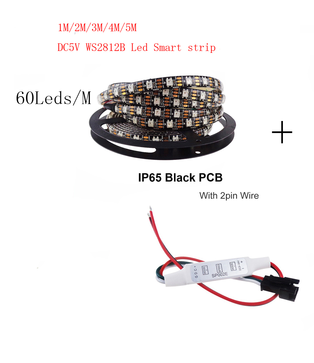 1-5m DC5V <font><b>WS2812B</b></font> Led Strip 60 pixels/leds/m WS2812 IC Smart <font><b>5050</b></font> <font><b>RGB</b></font> led Strip light+ LED Controller image