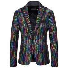 Stage Costumes Men Laser Colorful Sequin Suit Jacket Nightclub Dj Ds Men's Blazer Rave Performance Clothing Party Wear DN5079(China)