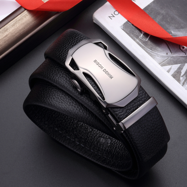 BISON DENIM Men s Belt Cow Leather Belts Brand Fashion Automatic Buckle Black Genuine Leather Belts