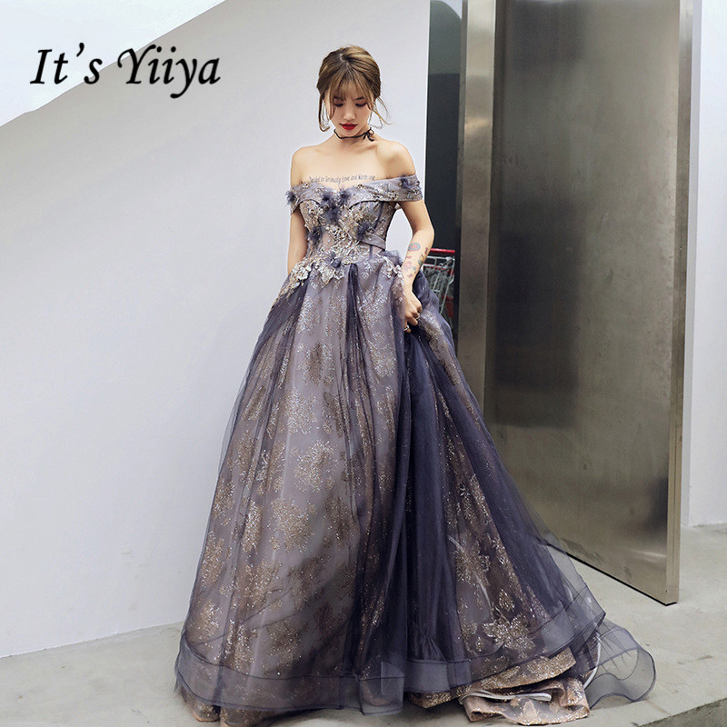 Evening Dresses Elegant  It's Yiiya AR207 Boat Neck Off Shoulder Robe De Soiree Shining Appliques Purple Long Formal Vestidos
