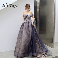 Evening-Dresses Robe-De-Soiree Shining Formal Elegant Purple Long Boat Yiiya Neck Appliques