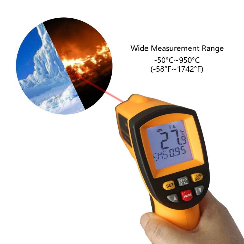 Medidor de temperatura digital infravermelho do termômetro do ir de gm900 kt900-50 9950c-58 pypirômetro 1742f celsius termometro infra-vermelho