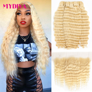 613 Bundles With Frontal Brazilian Deep Wave 3 Bundles With Closure Remy Human Hair Blonde Bundles With Frontal Closure Mydiva(China)