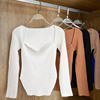 Square Collar Long Sleeve Woman Sweaters Knitted Pullover Women Spring Autumn Sweater Winter Tops For Women Black White Jumper 5