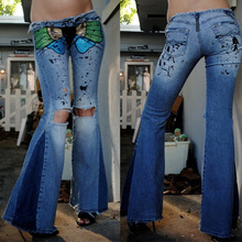 Blue Hole Jeans Womens Low Rise Skinny Flared Trousers Butterfly Print Washed Hip Hop Jeans for Women Lugentolo