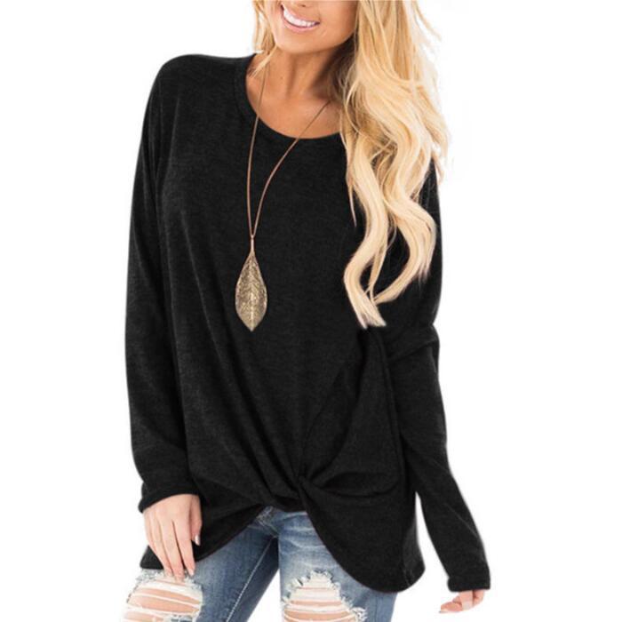 Женская Однотонная футболка с длинным рукавом, Повседневная тонкая осенне-зимняя женская футболка, женская модная Корейская одежда, Черные Серые топы размера плюс - Цвет: Black