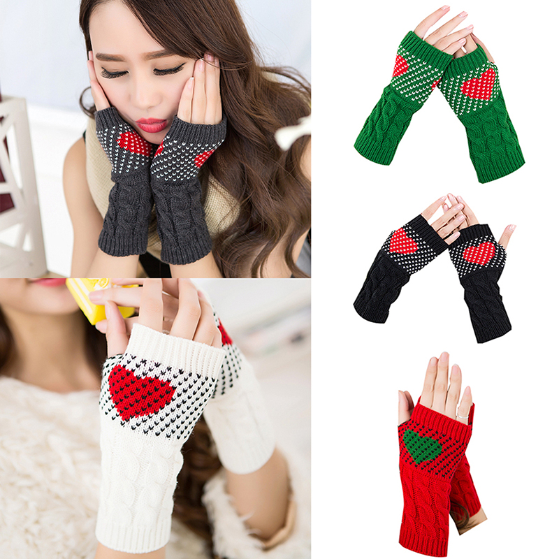 1 Pair Gloves Winter Autumn Christmas Heart Typing Gloves Women Girls Arm Wrist Warmer Sleeves Thick Knitted Mittens Gloves Pink