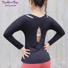 Yoga Shirts Women Back Hollow Out Running Shirt Long Sleeve T-shirt Quick Dry Sportwear Sport Tops Fitness Blouse Gymwear Female chic women s hollow out long sleeve blouse