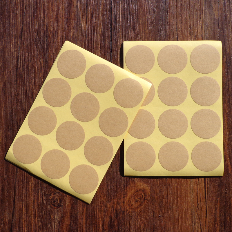 102 Pcs  Brown Blank Natural Kraft Paper Dot Stickers Round Circle Color Coding Labels Diameter 1.38inch