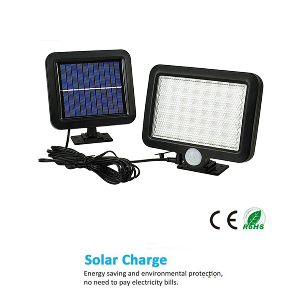 56/<font><b>30</b></font> <font><b>LED</b></font> <font><b>Solar</b></font> Light PIR Motion Sensor Wall Lamp Energy-saving Lights Waterproof Outdoor Garden Floodlights Spotlights split mo image