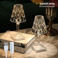 Oplaadbare Nachtlampje Usb Crystal Projector Bureaulamp Led Tafellamp Room Decor Nachten Lamp Verlichting Voor Thuis Xmas Decoratie