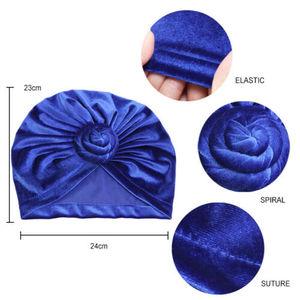 Image 5 - הודו נשים קטיפה טורבן כובע חיג אב טוויסט קשר הכימותרפיה כובע למתוח כפת ראש גלישת שיער אובדן כובעים מוסלמיים כיסוי מצנפת מצנפת