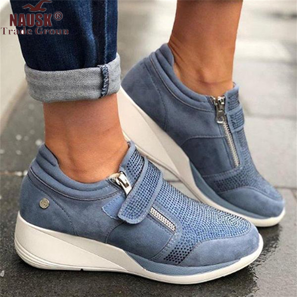 Women Shoes Hook Loop Shallow Sneaker Med Heel Wedges Female Shoes Women Vulcanize Shoes Breathable Confort Casual Ladies Shoes