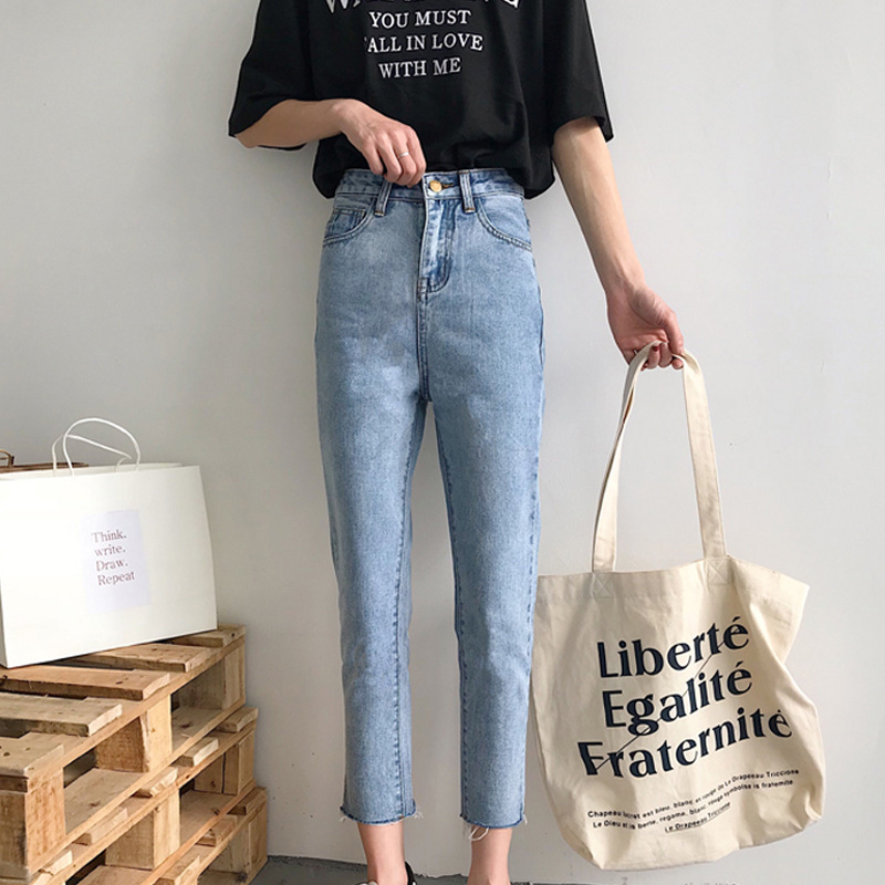 Spring WOMEN'S Dress 2019 New Style Korean-style Pants Students Simple Base-Versatile Jeans Women's Skinny Straight-leg Pants Fa