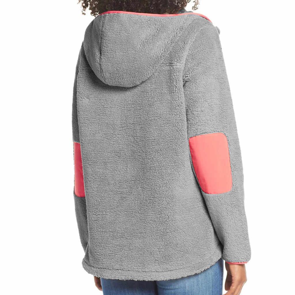 JAYCOSIN tasche nähte plüsch mit kapuze Tops Frauen einfarbig Faux Pelz Mit Kapuze Plüsch Zipper Tasche Splice Pullover Sweatshirt Top
