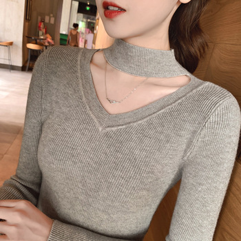 Bonjean Knitted Tops Jumper Autumn Winter Casual Pullovers Sweaters Women Shirt Long Sleeve Short Slim Tight Sweater Girls 2019 new spring autumn o neck pullovers sweaters shirt long sleeve short female slim fit tight sweater women sequins sweaters