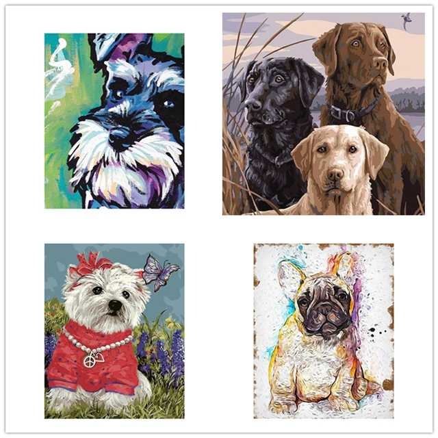 New DIY Framed  dog baby Oil Painting By Numbers Animal Anime owls Colorful Paint Wall Art Picture for Living Room Home Decor