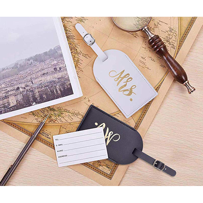 Honeymoon Luggage tags Mr and Mrs Leather Travel Tags Couple Suitcase Tag