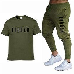 Zomer Nieuwe Mode Trend Mannen Pak Gepersonaliseerde Mode Afdrukken Sport Korte Mouwen T-shirt + Sport Casual Broek Pak