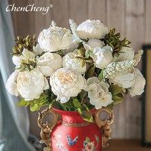 CHENCHENG 13 ramas Vintage flores de peonía seda flores artificiales Rosa falsa para la decoración de la fiesta en casa de la boda