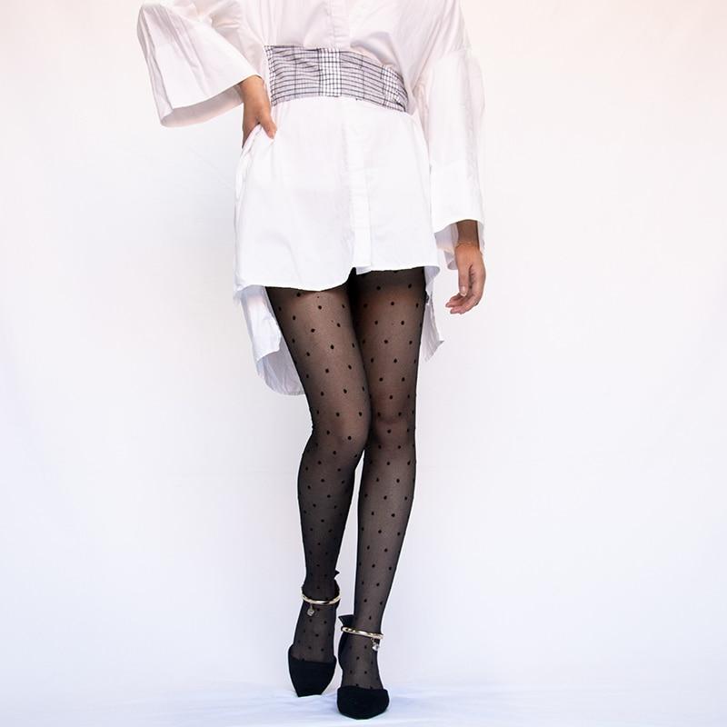 He4af8bc6e48147f8a4fdcf0ea45378965 1PC Sexy Women Pantyhose Tights Summer Nylon Polka Dot Print Stockings Seamless Fishnet Mesh Female Hosiery Vintage Faux Tattoo