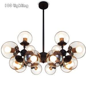 Moder; Прозрачные фойе светодиодный Люстра Ресторан Спальня подвесной светильник светильники E27 110-260V черная металлическая подвеска