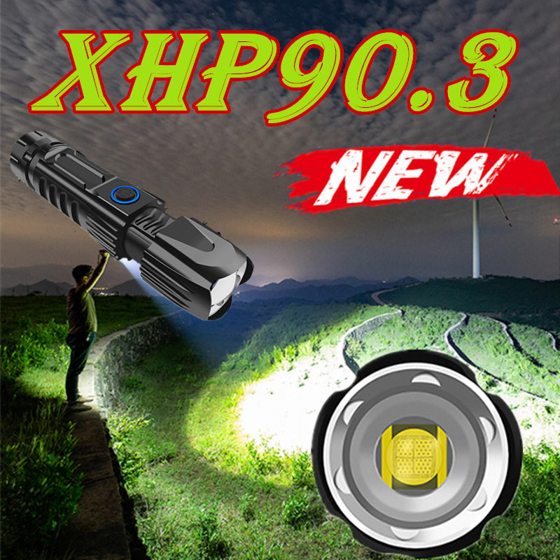 2020 New Dropshipping XHP90.3 Most Powerful Led Flashlight Usb Zoom Tactical Brightest Mini Torch 26650 Rechargeable Battery