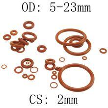 2 мм толщина силиконового каучука уплотнительное кольцо 5-23 мм OD красный теплостойкость уплотнительные прокладки