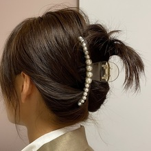 Hair-Claws Jewelry Pearl Clear Acrylic Fashionable Women F.J4Z for Ins Simulated Oversize