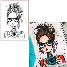 Freckles Girl Photographing Clear Stamps Spectacled For DIY Card Making Kids Transparent Silicone Stamp New 2019