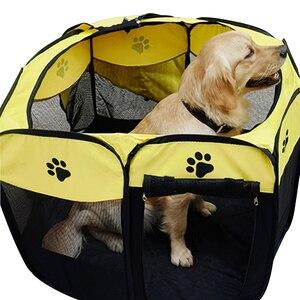 Image 5 - Taşınabilir Pet oyun kalem taşınabilir katlanır Pet köpek çadırı köpek evi sekizgen kafes kedi çadır oyun parkı köpek kulübesi kolay kullanım