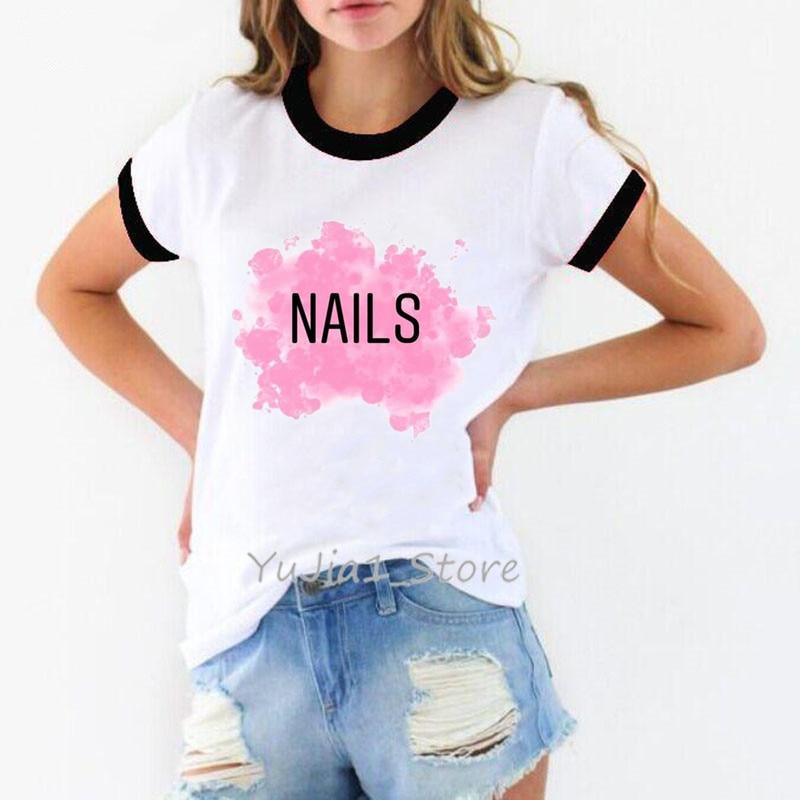 Colorful Nail Polish Print Vogue T Shirt Summer Hipster Tops Tee Shirt Women Kawaii Clothes DIY Custom Tshirt T-shirt Wholesale